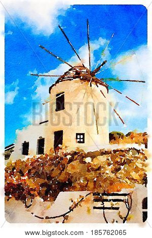 Digital watercolour of Windmill by a nice summer day in Naxos, Greece