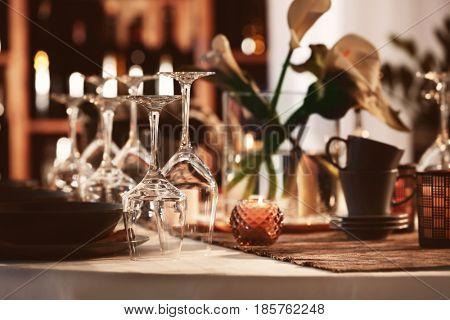 Beautiful table setting in restaurant