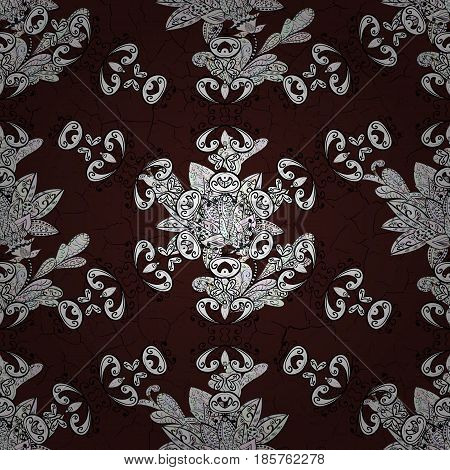 Brown background. Doodle background in vector with doodles flowers and paisley. Vector ethnic pattern can be used for sketch pattern fills coloring pages for kids and adults.