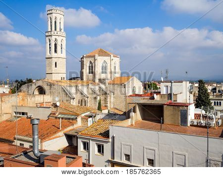 aerial view of old buildings from roof in Figueres Spain