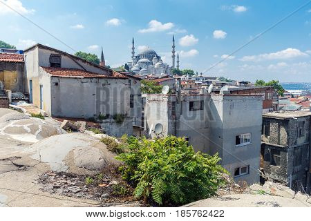 view of city Istanbul from old roof Turkey