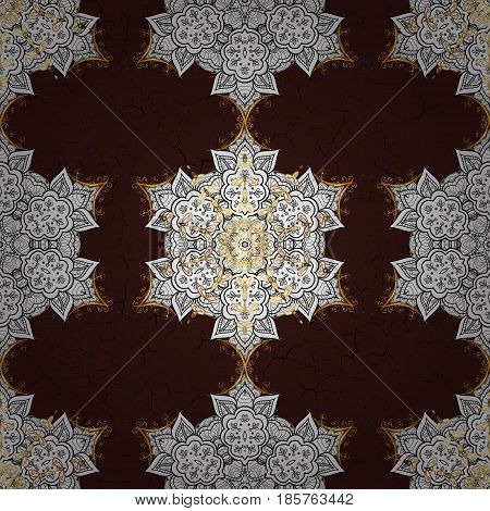Brown on background. Oriental ornament in the style of baroque. Vector traditional classic golden pattern.