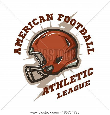 American football helmet emblem. Athletic League. Vector illustration.
