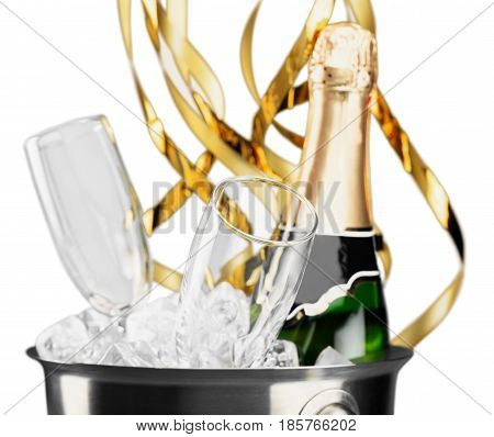 Bottle of Champagne and Flutes in Ice Bucket