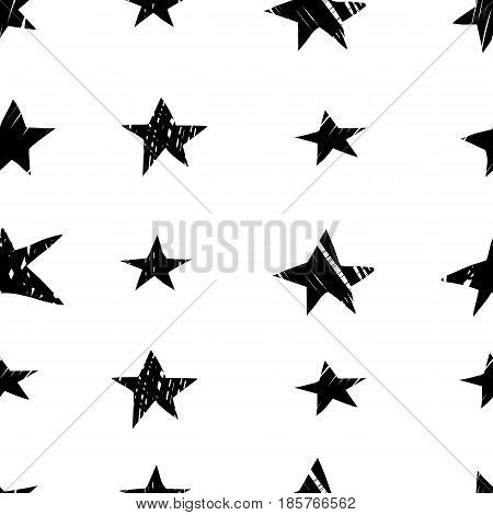 Seamless black and white pattern with hand drawn stars. 80s retro pop style design. Endless background texture.Abstract hand drawn ornament for wallpaper, wrapping paper, background, surface texture, pattern fill