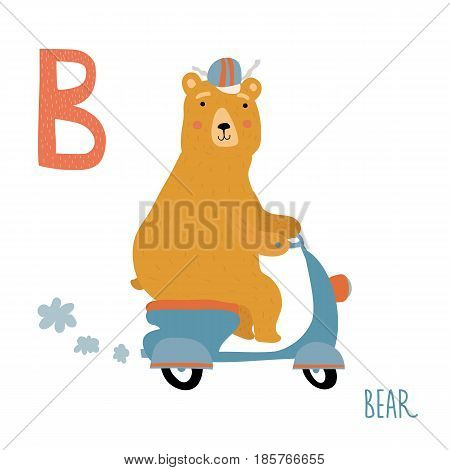Vector illustration of cute kids animal alphabet. Letter B for the Bear. Cartoon little bear cub on bike isolated on white background for child illustration, baby shower, birtday card, invitiation, T-shirt. Preschool and school reading study.