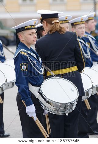 07.05.2017.Russia.Saint-Petersburg.Cadet musicians are taking part in the preparatory rehearsals for the parade on may 9devoted to the Victory Day.