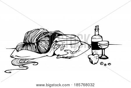 girl with fish in aquarium and bottle of wine vector graphic