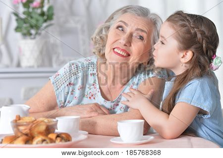 Happy grandmother with a small granddaughter drinking tea