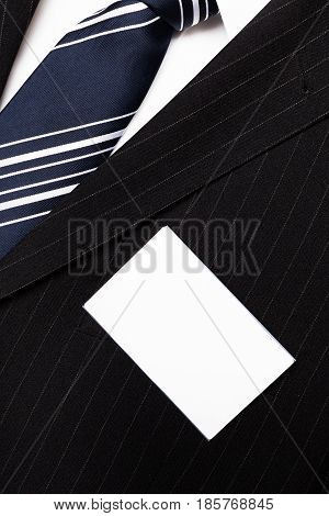 Closeup of a Businessman with Name Tag / Pass