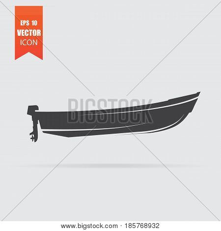 Motor Boat Icon In Flat Style Isolated On Grey Background.