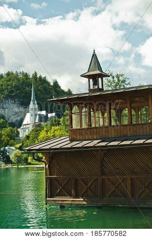 Detail from a lake Bled with church in a background, slovenian Alps, Slovenia