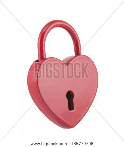 Red heart shape lock isolated on white with clipping path