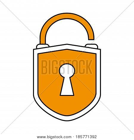 color silhouette cartoon padlock with yellow shield body and shackle vector illustration