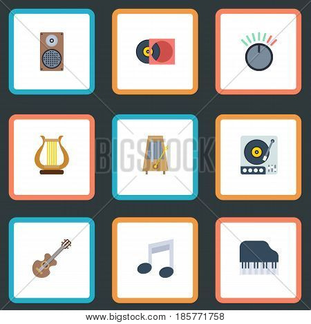 Flat Octave Keyboard, Acoustic, Knob And Other Vector Elements. Set Of Music Flat Symbols Also Includes Turntable, Octave, Box Objects.