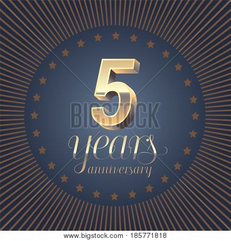 5 years anniversary vector logo. Decoration design element with medal and 3D number for 5th anniversary