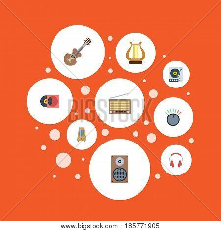 Flat Knob, Earphone, Acoustic And Other Vector Elements. Set Of Music Flat Symbols Also Includes Harp, Turntable, Metronome Objects.