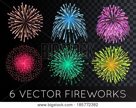Vector Fireworks Set with transparency EPS 10