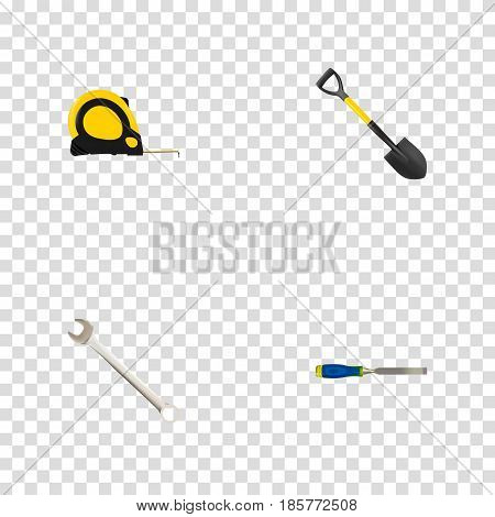 Realistic Spanner, Length Roulette, Spade And Other Vector Elements. Set Of Tools Realistic Symbols Also Includes Tool, Key, Shovel Objects.