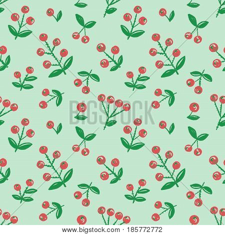 Seamless hand drawn berry background. Green color