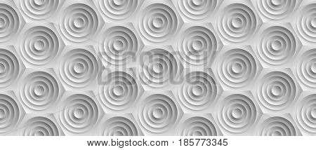 Volume realistic embossing texture, circles cut in honeycomb, white background, 3d geometric seamless pattern, design vector wallpaper