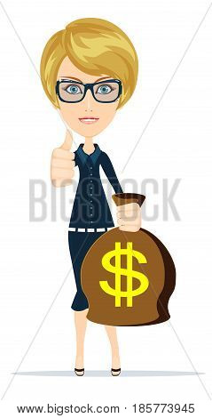 Woman holding money bag. Smiling businessman carrying big heavy sack full of cash money with dollar sign on it. Flat style modern vector illustration isolated on white background.