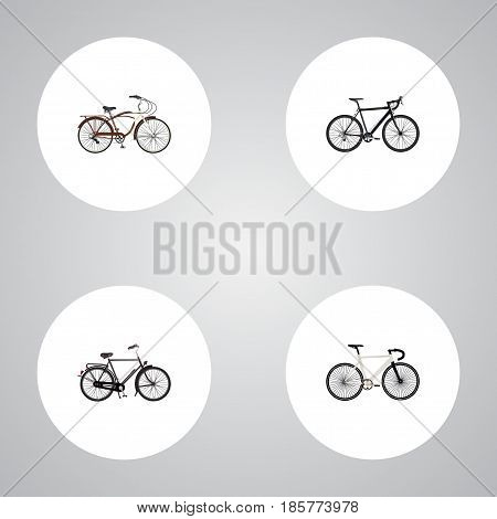 Realistic Training Vehicle, Road Velocity, Journey Bike And Other Vector Elements. Set Of Bike Realistic Symbols Also Includes Velocipede, Track, Bicycle Objects.