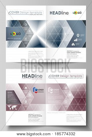 Business templates for bi fold brochure, magazine, flyer, booklet or annual report. Cover design template, easy editable vector, abstract flat layout in A4 size. Simple monochrome geometric pattern. Abstract polygonal style, stylish modern background.
