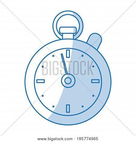 blue shading silhouette cartoon stopwatch icon vector illustration