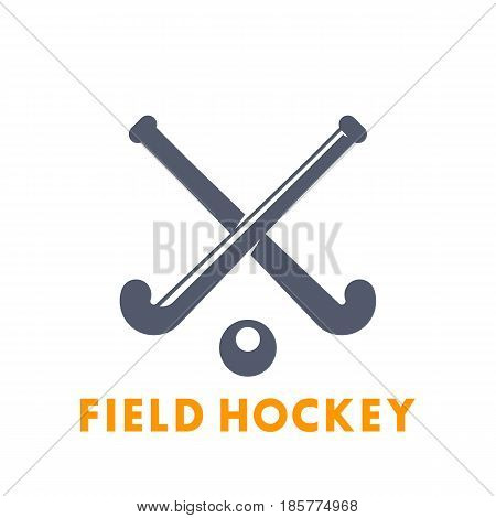Field Hockey icon, logo elements isolated over white, vector illustration