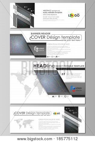 Social media and email headers set, modern banners. Business templates. Easy editable abstract design template, vector layouts in popular sizes. Colorful dark background with abstract lines. Bright color chaotic, random, messy curves. Colourful vector dec