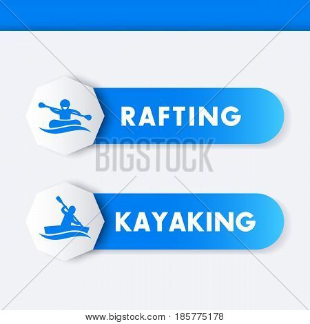 Kayaking, rafting icons, banners, labels in blue
