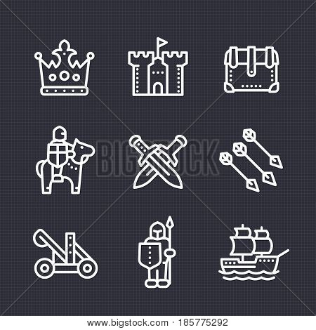 medieval war line icons set, knight, spearman, horseman, crown, castle, catapult, siege, sailing vessel