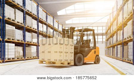 Pallet transporter in warehouse with boxes on it (3D Rendering)
