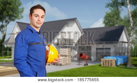 Construction worker at construction site of new building for family house (3D Rendering)