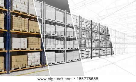 Warehouse hall for storage CAD draft planning process (3D Rendering)