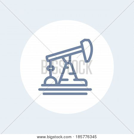 Oil pump, derrick line icon isolated on white, eps 10 file, easy to edit