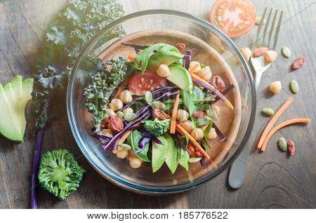 Chickpea and veggies salad kale broccoli goji berries healthy homemade vegan food vegetarian diet vitamin snack