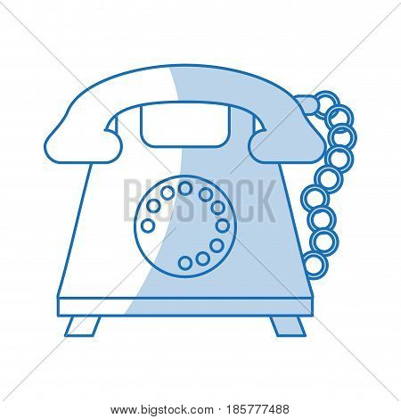 blue shading silhouette cartoon retro telephone with cord vector illustration