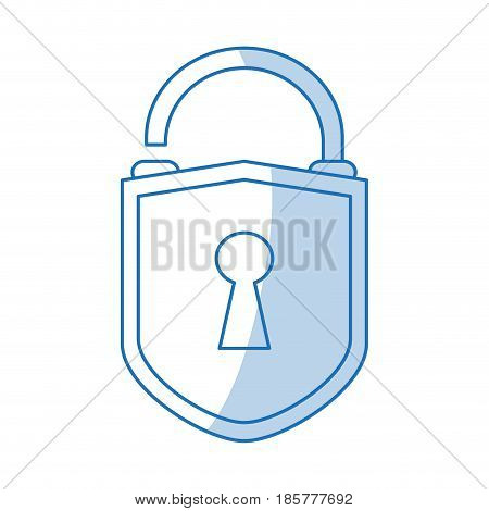 blue shading silhouette cartoon padlock with shield body and shackle vector illustration