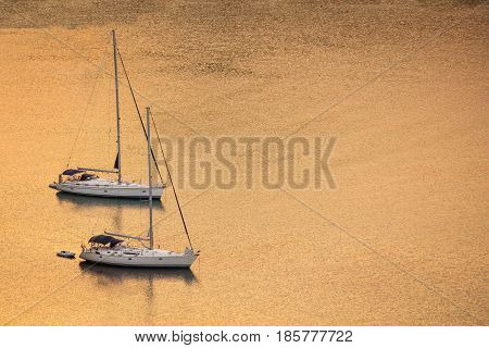Sailing Boats At Sunset - Copy Space