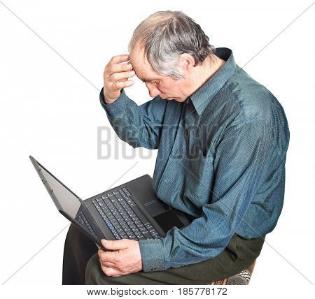 old man in working with laptop