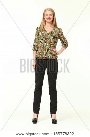 Business Woman In Casual Clothes Isolated On White