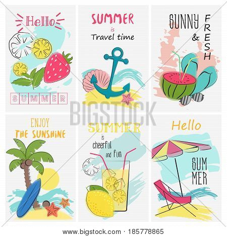 Summer holidays vacation poster set. Greeting and invitation lettering card. Tropical vacation vector illustration