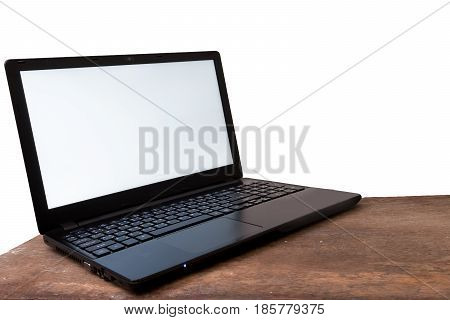 Laptop and Mockup Copy space Concept White background.