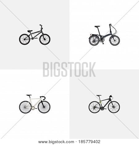Realistic Extreme Biking, Hybrid Velocipede, Road Velocity And Other Vector Elements. Set Of Bicycle Realistic Symbols Also Includes Track, Bike, Training Objects.