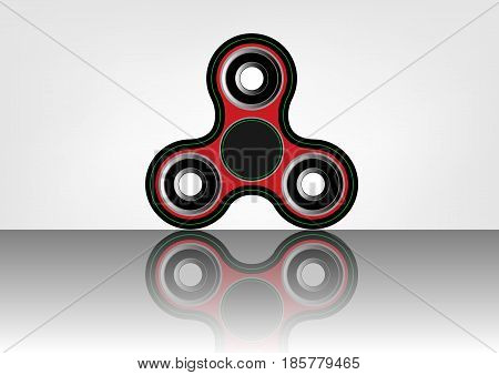 Fidget spinner icon - toy for stress relief and improvement of attention span. Filled with gray and black color. Isolated vector illustration.