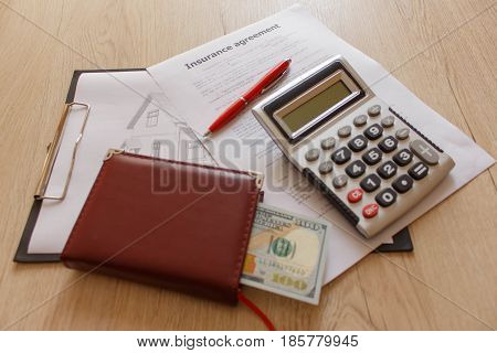 Real estate and Home Insurance Building concept diagram. Insurance calculator