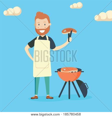 Caucasian cheerful man cooking steak on the barbecue grill outdoor. Smiling man preparing steak on the barbecue grill. Happy man having outdoor barbecue. Vector flat design illustration. Square layout