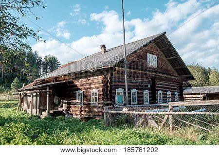 Abandoned old wooden house in russian village